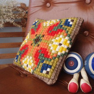 60s Colorful Cross Stitch pillow