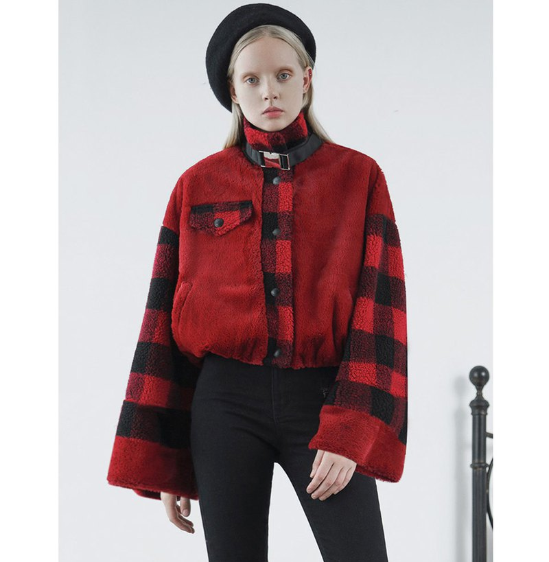 Punk rock contrast checked plush coat