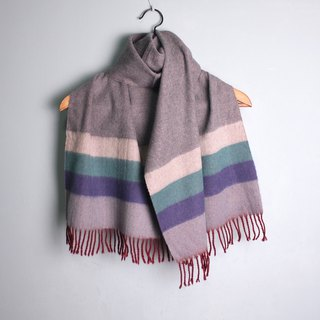 FOAK ancient lake green x purple striped double-sided scarf