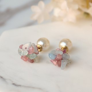 Japanese handmade ornaments - natural stone pearl earrings