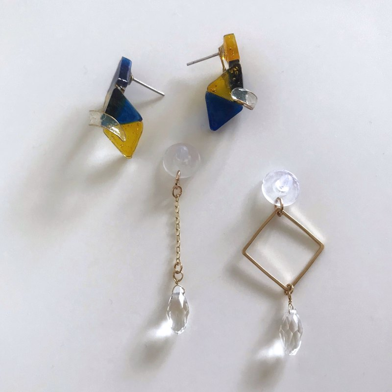 Sailor Moon Uranus-handmade resin asymmetric dangling earrings ear clips / ear clips