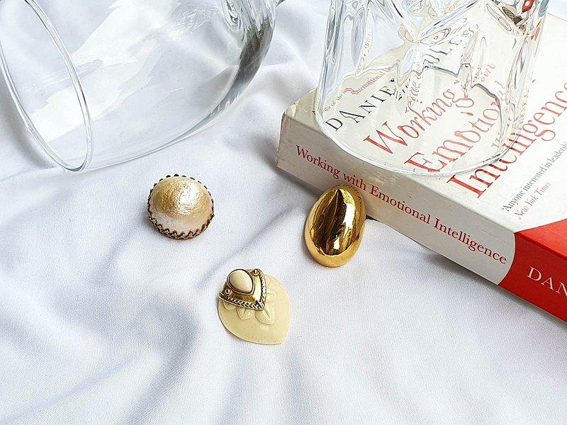 【農曆新年特惠組合】美國帶回 西洋古董飾品 夾式與針式單支耳環