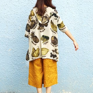 Calf Village Calf Village Ancient vintage Neutral Sketch Retro Wide Hooded Blouse Thin Jacket Five Sleeve Shirt Apple Cherry Pear Fruit {Banana You Bromeliad} Gray Green [V-21]