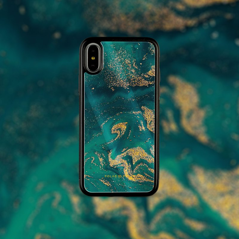 Polar Polar Green Night Quicksand iPhone Tempered Glass Case