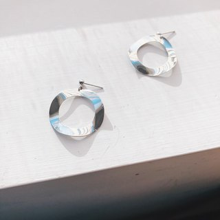 Large wave circle - silver drop earrings earrings (pair) [changeable ear clips]