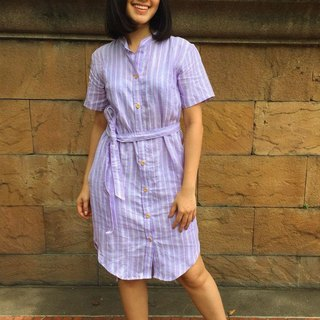 Teresa Purple Striped Linen Shirt Dress