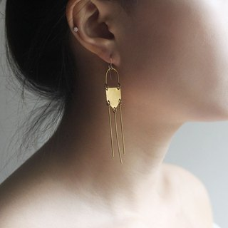 Geometry Padlock Charm Brass Earrings - 14K Gold Filled Hooks / Clip-Ons