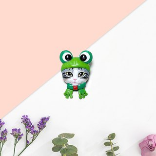 Kero Kero Keroppi Cat brooch, cat pin, frog pin, cat lover gifts