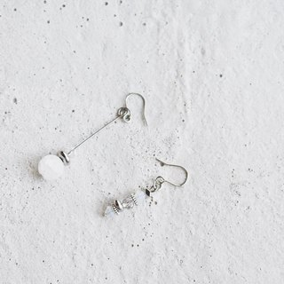 Zhu. Handmade Earrings - Ice Crystal Queen (Natural Stone / Clip-on Earrings)