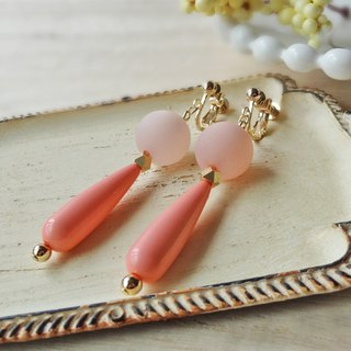 Long drop and rose pink Earrings