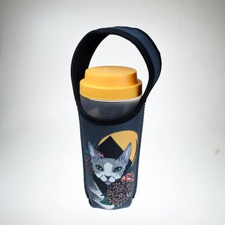 Three cats cat pattern eco-friendly beverage bag night cat
