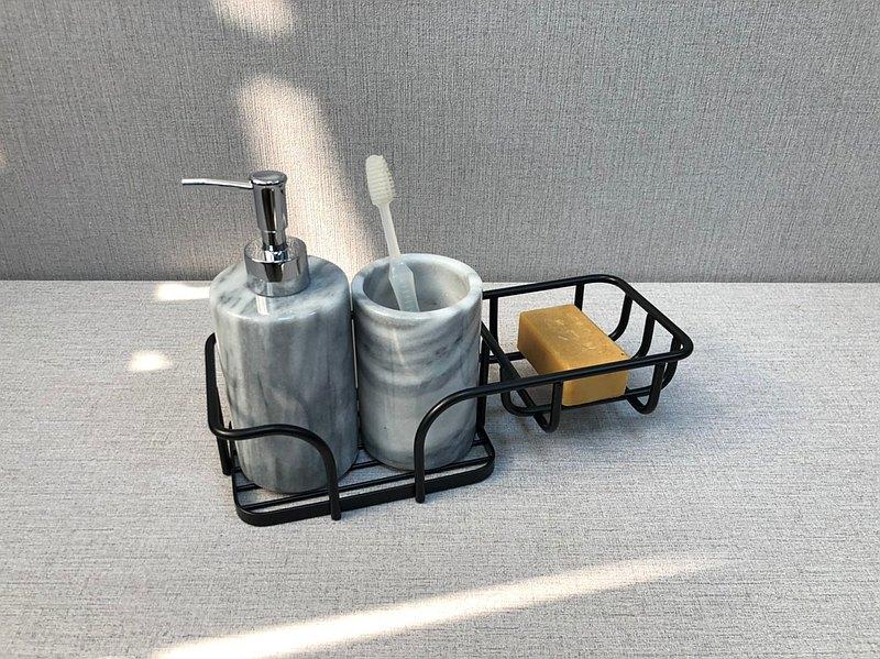 大理石衛浴3件套組-洗手液瓶牙刷漱口兩用杯金屬收納架(不含肥皂)