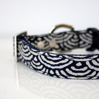 Japanese indigo Seigaiha waves Dog Collar - Silver