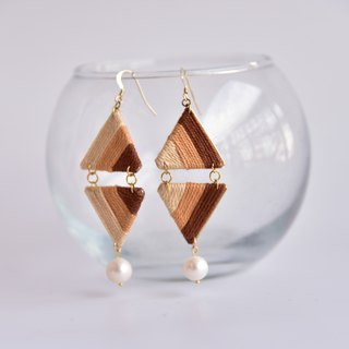 Brown gradient large pearl rhombus earrings