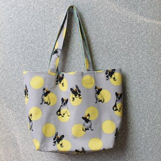 adoubao-sided shopping bag green bag shoulder bag - yellow point x Crown dog