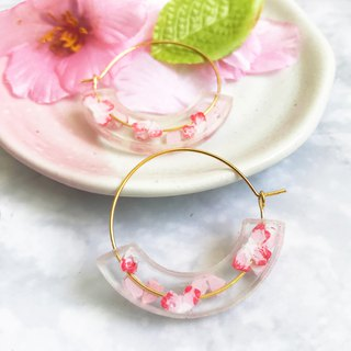 Sakura Moon Gold Plated Hoop Earrings - Special Edition