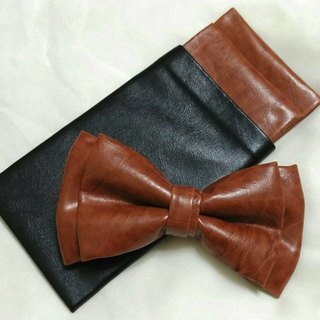 Synthetic leather bow tie, synthetic leather pocket towel, tan synthetic leather bow tie, tan bow tie