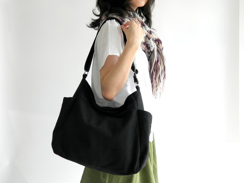 Black messenger bag, Canvas Diaper bag, 7 x pocket shoulder bag no.101 RENEE