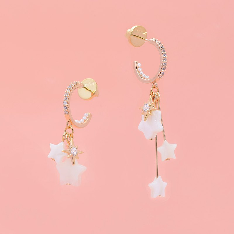little nb star crushed stone pearl ring mismatch earrings