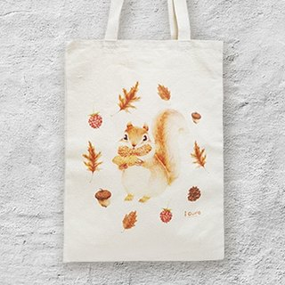 i Baguette seaman hand-painted canvas bag -A6. Squirrel and pinecone