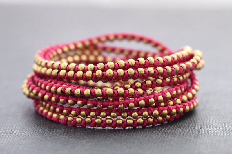 Shocking Pink Stud Wrap Bracelets Anklets Necklaces Braided Woven