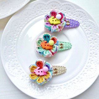 Flower cloth ball wooden buckle rabbit color matching Japanese style and wind cloth flower little child baby water drop clip