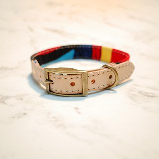 Dog collar M number red passion Senbapupu painted vegetable tanned leather can add tag