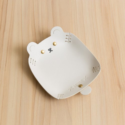 Animal Series - Hand painted leather small cap / jewelry storage / (polar bear)