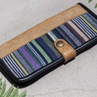 Chinese Valentine's Day Gift Graduation Gift Birthday Gift Father's Day Exchange Gift Limited Edition Genuine Leather Wallet/ Woven Stitching Leather Long Clip/ Long Wallet/ Coin Purse/ Woven Leather Wallet - Moroccan Wind Ethnic Pattern Leather Wa