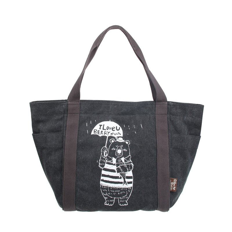 BL20703:Black canvas silkscreen lovelybear big bag tote bag