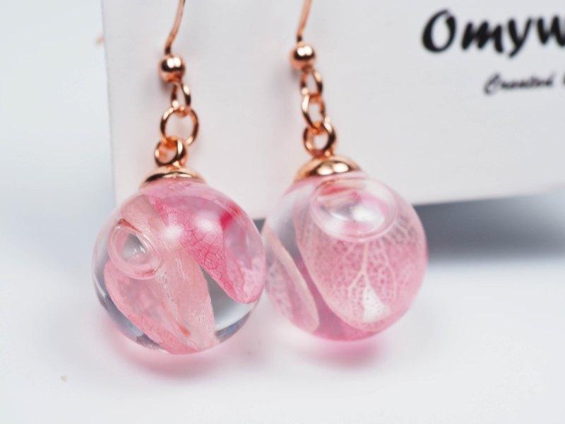 愛家作-OMYWAY日本粉紅色繡球花浮游玻璃球玫瑰金色耳環耳夾1.4cm