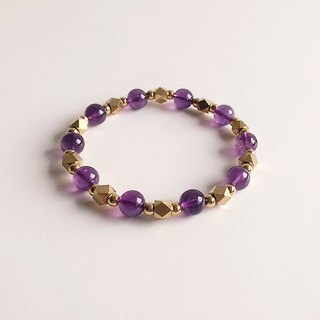 [Gemstones] twilight light high quality natural ore amethyst brass bracelet