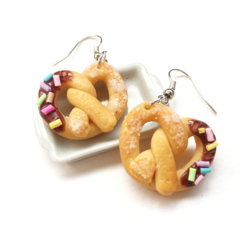 Chocolate bread earring