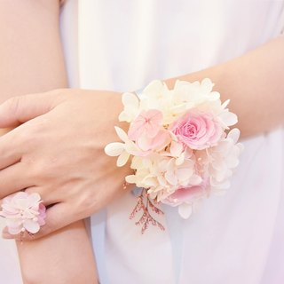WANYI pink rose wrist flower ring eternal flower / ring / marriage / bridesmaid / wedding