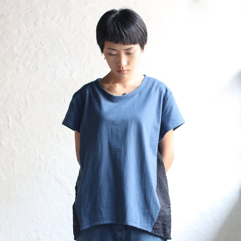 OMAKE omiso Tops Short Sleeved Hem Curved Panel Top