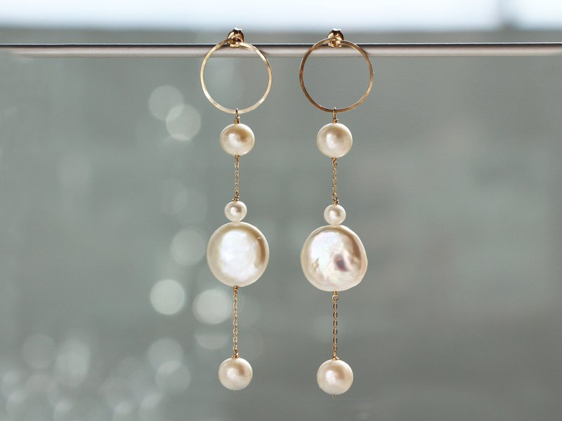 14kgf- snowing pearl pierced earrings / can change to clip-on