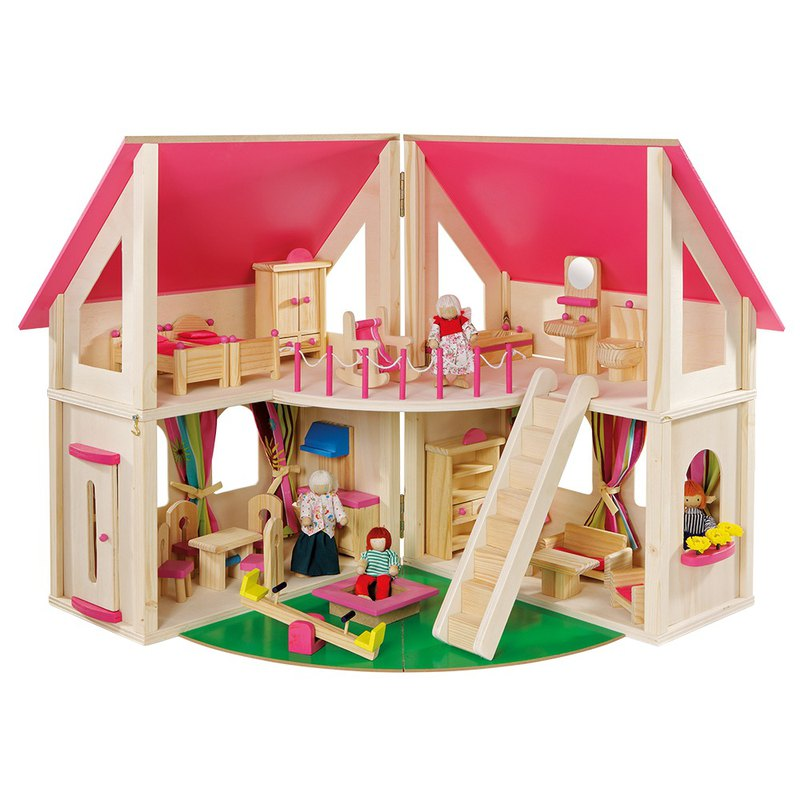 Sesame opens the door. Openable wooden doll house