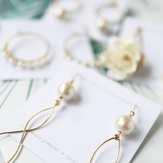 Japanese cotton beads series - elegant copper silk pearl earrings ear clip