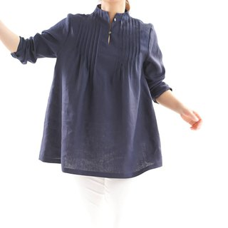 Linen / linen tunic / long sleeve / stand collar / pin-tuck / naivy / a81-15