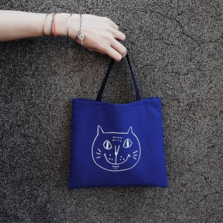 Canvas Tote Bag / Eco Bag / Pouting Cat / Indigo + White