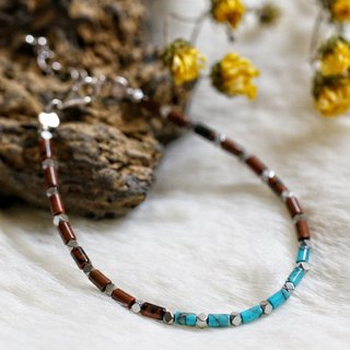 Breeciated Jasper + Turquoise Silver 925 Bracelet with Linear Memory Alloy