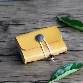 Yellow tea color capacity 20 card position leather card holder vegetable tanned leather business card holder / business card set free lettering