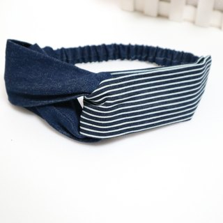 Stitching denim cross section hair band*sk*