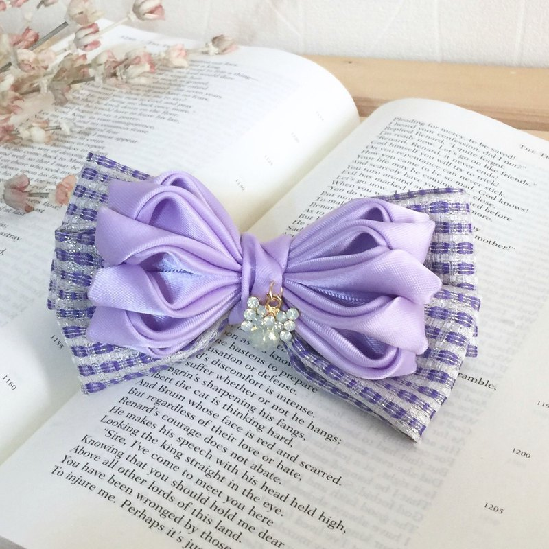 Pink purple / elegant handmade cloth banana clip spring clip automatic clip shark clip hair comb and hair fork