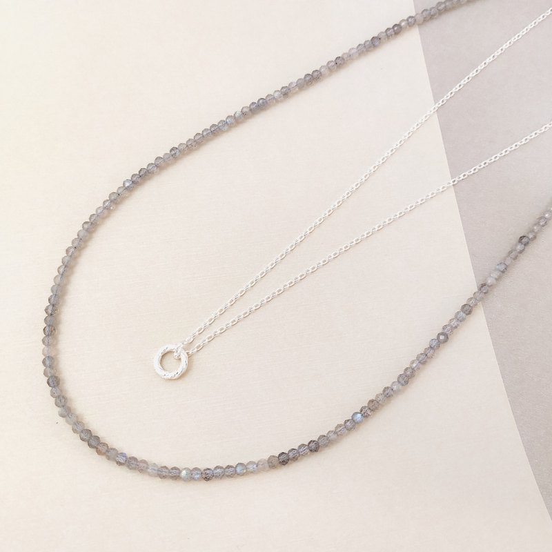 Natural Labradorite Necklace | 925 Silver Ring Handmade Double Circle Necklace Customized Gift |