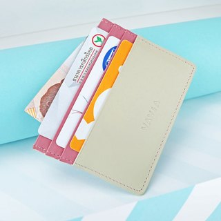 """White&Milky Pink"" Cow Leather Card Holder"