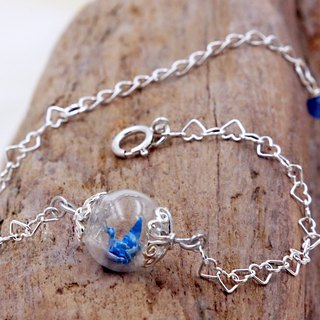 Mini cranes glass beads bracelet (Moonlight streamer) - Valentine's Day gift