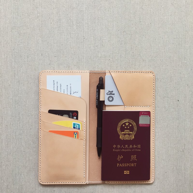 Multi-function wallet passport holder with pen insert primary color Italian vegetable tanned cowhide handmade leather design custom