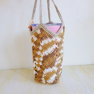 Toffee color dyed ramie hand hook universal woven bag ice blast cup thermos mason bottle