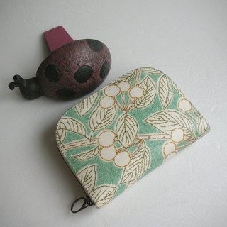 Emerald cherry hand-painted cloth - short clip / wallet / purse / gift